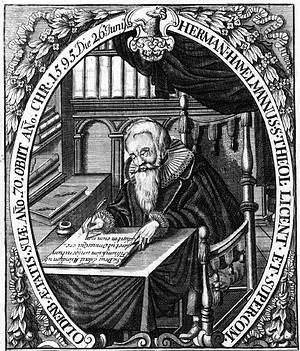 Hermann Hamelmann im Hamelmann-Zimmer der Lambertikirche; Stich aus den Oldenburgischen Chronicen 1599