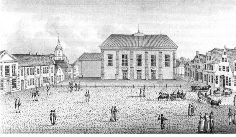 Außenansicht der klasszistischen Lambertikirchte 1820; Bild: G.F.F. David
