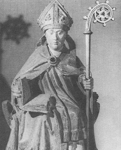 Sitzender Lambertus mit Buch und Bischofsstab aus Blicquy um 1480; Foto: Kirchengemeinde Oldenburg
